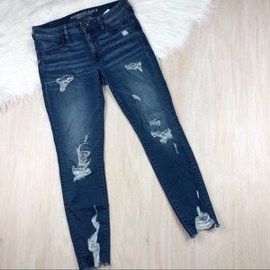 AEO Blue Skinny Distressed Jegging Jeans 8